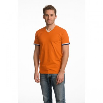 L&S T-shirt Double-V cot/elast for him